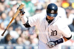 Apr 22, 2018; Detroit, MI, USA; Detroit Tigers designated hitter Victor Martinez (41) throws his bat down during the first inning against the Kansas City Royals at Comerica Park. Mandatory Credit: Raj Mehta-USA TODAY Sports