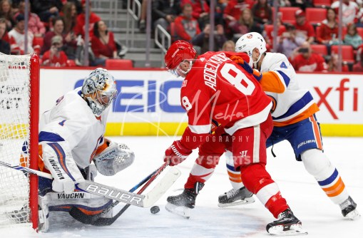 Apr 7, 2018; Detroit, MI, USA; Detroit Red Wings left wing Justin Abdelkader (8) scores a goal against New York Islanders goaltender Thomas Greiss (1) and defenseman Dennis Seidenberg (4) during the second period at Little Caesars Arena. Mandatory Credit: Raj Mehta-USA TODAY Sports