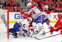 Apr 5, 2018; Detroit, MI, USA; Montreal Canadiens goaltender Antti Niemi (37) makes a save as Detroit Red Wings left wing Justin Abdelkader (8) gets defended by Montreal Canadiens defenseman Jeff Petry (26) during the second period at Little Caesars Arena. Mandatory Credit: Raj Mehta-USA TODAY Sports
