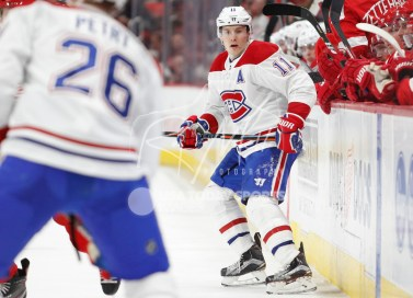 Apr 5, 2018; Detroit, MI, USA; Montreal Canadiens right wing Brendan Gallagher (11) looks for the puck during the second period against the Detroit Red Wings at Little Caesars Arena. Mandatory Credit: Raj Mehta-USA TODAY Sports