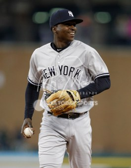 Apr 13, 2018; Detroit, MI, USA; New York Yankees shortstop Didi Gregorius (18) smiles as he walks to the dugout just after the fourth inning at Comerica Park. Mandatory Credit: Raj Mehta-USA TODAY Sports