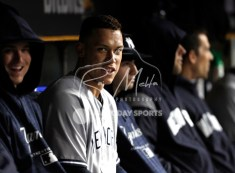 Apr 13, 2018; Detroit, MI, USA; New York Yankees right fielder Aaron Judge (99) smiles in the dugout during the fifth inning against the Detroit Tigers at Comerica Park. Mandatory Credit: Raj Mehta-USA TODAY Sports