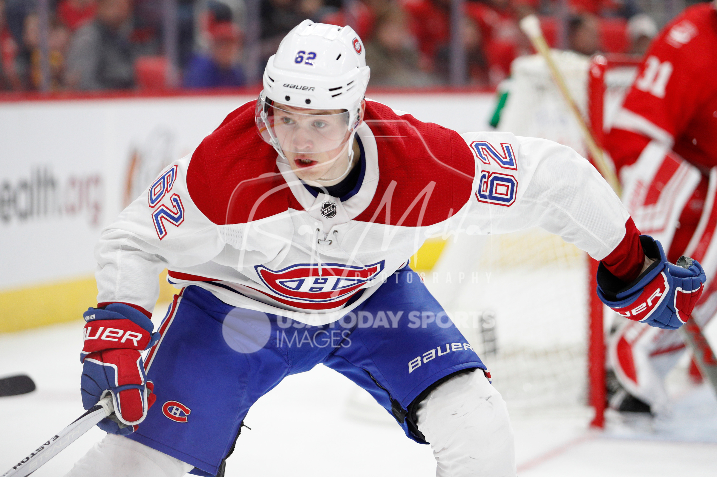 Apr 5, 2018; Detroit, MI, USA; Montreal Canadiens left wing Artturi Lehkonen (62) looks at the puck during the third period against the Detroit Red Wings at Little Caesars Arena. Mandatory Credit: Raj Mehta-USA TODAY Sports