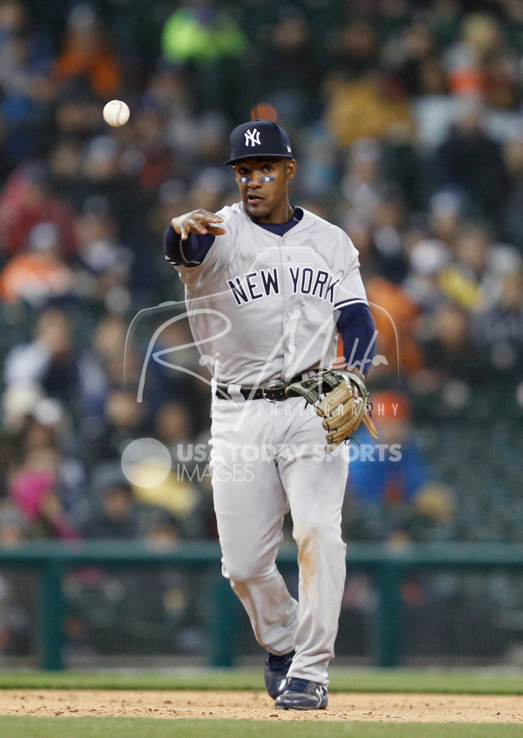 Apr 13, 2018; Detroit, MI, USA; New York Yankees third baseman Miguel Andujar (41) throws the ball to first for an out during the fifth inning against the Detroit Tigers at Comerica Park. Mandatory Credit: Raj Mehta-USA TODAY Sports