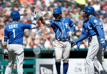 Apr 22, 2018; Detroit, MI, USA; Kansas City Royals right fielder Abraham Almonte (45) celebrates with second baseman Ryan Goins (1) after hitting a grand slam home run during the sixth inning against the Detroit Tigers at Comerica Park. Mandatory Credit: Raj Mehta-USA TODAY Sports