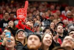 Apr 7, 2018; Detroit, MI, USA; Detroit Red Wings fan raises his foam finger during overtime against the New York Islanders at Little Caesars Arena. Mandatory Credit: Raj Mehta-USA TODAY Sports