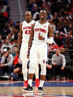 Apr 6, 2018; Detroit, MI, USA; Detroit Pistons guard Reggie Jackson (1) smiles after a play during the third quarter against the Dallas Mavericks at Little Caesars Arena. Mandatory Credit: Raj Mehta-USA TODAY Sports