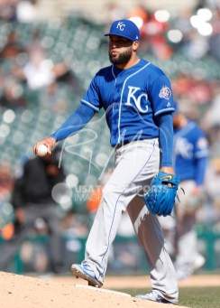 Apr 22, 2018; Detroit, MI, USA; Kansas City Royals relief pitcher Kelvin Herrera (40) walks onto the mound during the ninth inning against the Detroit Tigers at Comerica Park. Mandatory Credit: Raj Mehta-USA TODAY Sports
