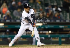 Apr 13, 2018; Detroit, MI, USA; Detroit Tigers shortstop Jose Iglesias (1) gets a hit for a single during the eighth against the New York Yankees inning at Comerica Park. Mandatory Credit: Raj Mehta-USA TODAY Sports