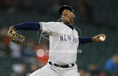 Apr 13, 2018; Detroit, MI, USA; New York Yankees relief pitcher Aroldis Chapman (54) pitches the ball against the Detroit Tigers during the ninth inning at Comerica Park. Mandatory Credit: Raj Mehta-USA TODAY Sports