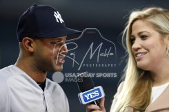 Apr 13, 2018; Detroit, MI, USA; New York Yankees center fielder Aaron Hicks (31) does an interview after the game against the Detroit Tigers at Comerica Park. Mandatory Credit: Raj Mehta-USA TODAY Sports