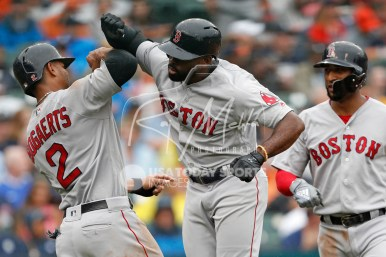 Jul 22, 2018; Detroit, MI, USA; Boston Red Sox center fielder Jackie Bradley Jr. (19) celebrates with shortstop Xander Bogaerts (2) after hitting a three run home run during the fourth inning against the Detroit Tigers at Comerica Park. Mandatory Credit: Raj Mehta-USA TODAY Sports