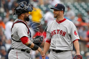 Jul 22, 2018; Detroit, MI, USA; Boston Red Sox relief pitcher Tyler Thornburg (47) smiles with catcher Sandy Leon (3) after the game against the Detroit Tigers at Comerica Park. Mandatory Credit: Raj Mehta-USA TODAY Sports