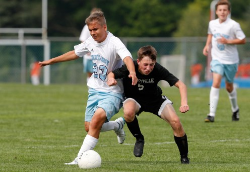 Aug 20, 2018; Northville, MI, USA; Ann Arbor Skyline Eagles at Northville Mustangs in boys freshman soccer action. The game ended in a 2-2 draw. © Raj Mehta Photography LLC
