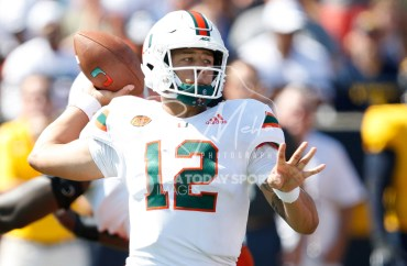 Sep 15, 2018; Toledo, OH, USA; Miami Hurricanes quarterback Malik Rosier (12) passes the ball during the third quarter against the Toledo Rockets at Glass Bowl. Mandatory Credit: Raj Mehta-USA TODAY Sports