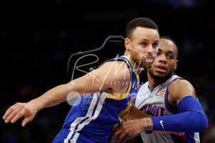 Dec 1, 2018; Detroit, MI, USA; Golden State Warriors guard Stephen Curry (30) tries to get open against Detroit Pistons guard Bruce Brown (6) during the second quarter at Little Caesars Arena. Mandatory Credit: Raj Mehta-USA TODAY Sports