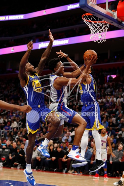 Dec 1, 2018; Detroit, MI, USA; Detroit Pistons forward Stanley Johnson (7) goes up for a shot against Golden State Warriors forward Jordan Bell (2) and guard Shaun Livingston (34) during the second quarter at Little Caesars Arena. Mandatory Credit: Raj Mehta-USA TODAY Sports