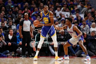 Dec 1, 2018; Detroit, MI, USA; Golden State Warriors forward Kevin Durant (35) gets defended by Detroit Pistons forward Stanley Johnson (7) during the second quarter at Little Caesars Arena. Mandatory Credit: Raj Mehta-USA TODAY Sports