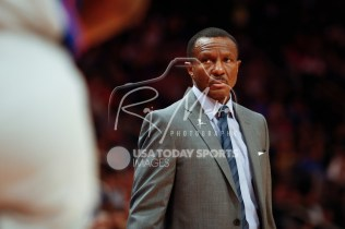 Dec 1, 2018; Detroit, MI, USA; Detroit Pistons head coach Dwane Casey looks on during the second quarter against the Golden State Warriors at Little Caesars Arena. Mandatory Credit: Raj Mehta-USA TODAY Sports