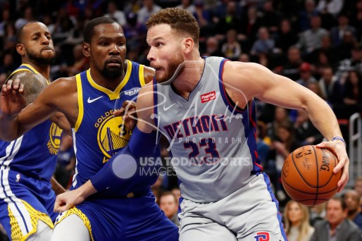 Dec 1, 2018; Detroit, MI, USA; Detroit Pistons forward Blake Griffin (23) gets defended by Golden State Warriors forward Kevin Durant (35) during the second quarter at Little Caesars Arena. Mandatory Credit: Raj Mehta-USA TODAY Sports