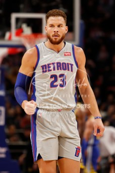 Dec 1, 2018; Detroit, MI, USA; Detroit Pistons forward Blake Griffin (23) pumps his fist during the third quarter against the Golden State Warriors at Little Caesars Arena. Mandatory Credit: Raj Mehta-USA TODAY Sports