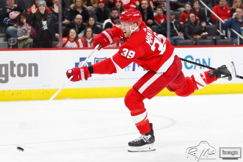 Feb 27, 2020; Detroit, Michigan, USA; Detroit Red Wings right wing Anthony Mantha (39) shoots and scores during the second period against the Minnesota Wild at Little Caesars Arena. Mandatory Credit: Raj Mehta-USA TODAY Sports