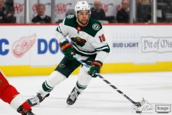 Feb 27, 2020; Detroit, Michigan, USA; Minnesota Wild left wing Jordan Greenway (18) skates with the puck during the third period against the Detroit Red Wings at Little Caesars Arena. Mandatory Credit: Raj Mehta-USA TODAY Sports