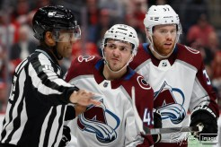 Mar 2, 2020; Detroit, Michigan, USA; Colorado Avalanche defenseman Samuel Girard (49) yells at Detroit Red Wings center Dylan Larkin (not pictured) during the second period at Little Caesars Arena. Mandatory Credit: Raj Mehta-USA TODAY Sports