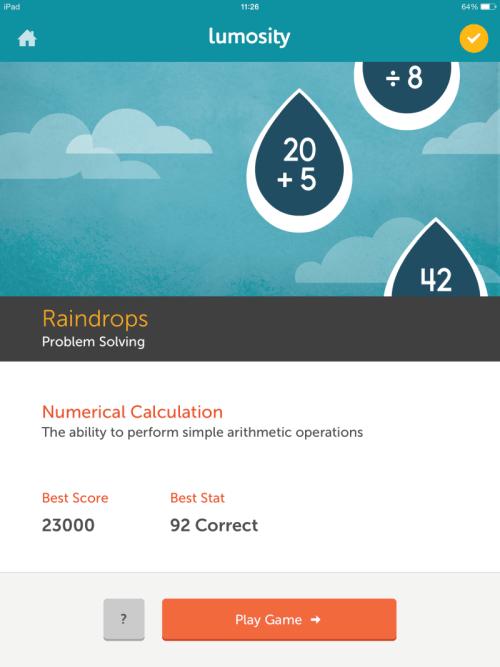 raindrops problem solving game lumosity