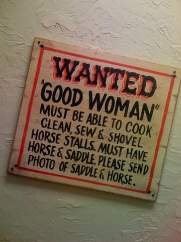 Wanted: good woman