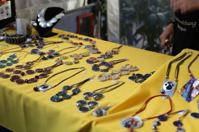 Local art-- necklaces made from recycled Nespresso capsules.