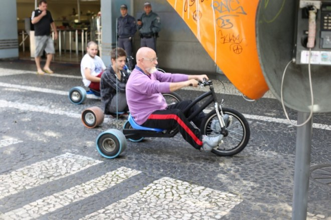 Some guys enjoying three wheelers around the tourist part of Sao Paulo (Paulista Street)