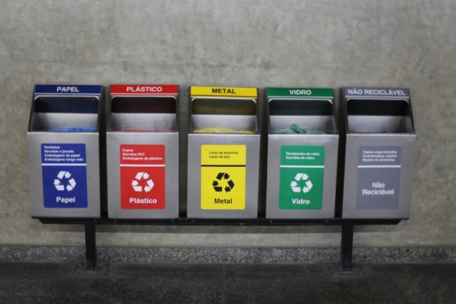 Recycling in Sao Paulo's subway station.