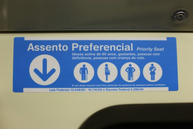 Sign on the subway in Sao Paulo.