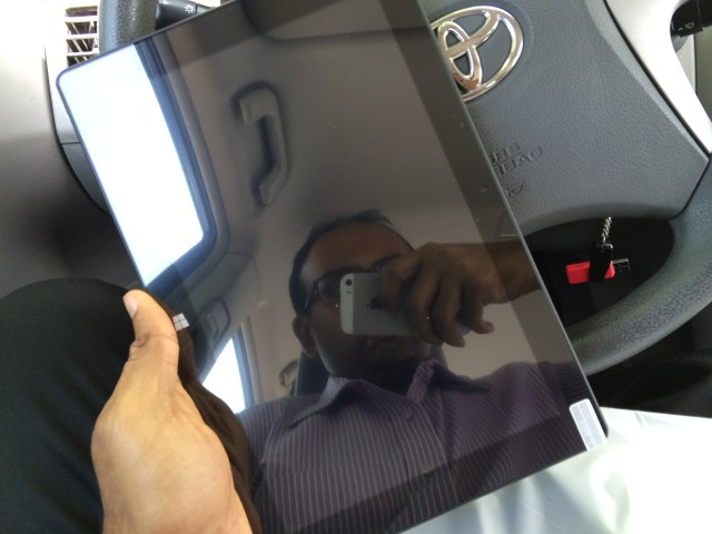 Tablet in portrait orientation.