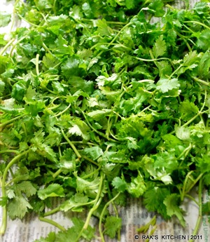 step 1 coriander leaves pat dry
