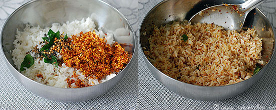Step 4 garlic rice preparation