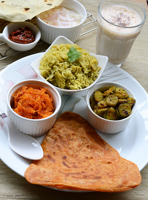 Triangle roti paratha, tindora curry, baby corn pulao, vermicelli kesari
