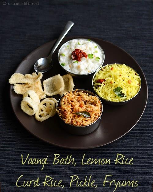 vaangi bath lemon rice curd rice