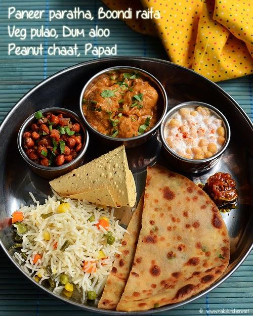 Dum Aloo Veg Pulao Paneer Paratha Lunch Menu 52 Raks Kitchen