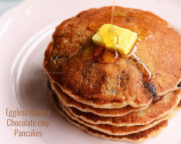 eggless banana chocolate chip pancake