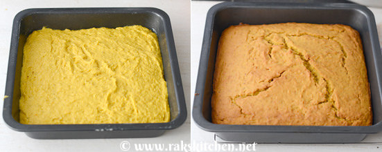 Eggless mango cake preparation 11