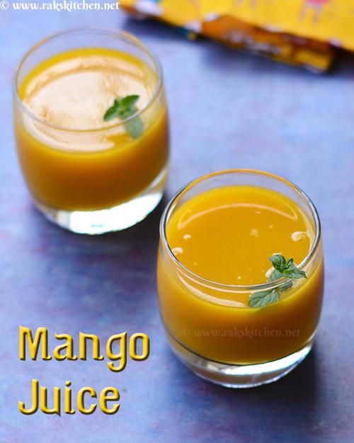 mango juice with mint, ginger, lemon
