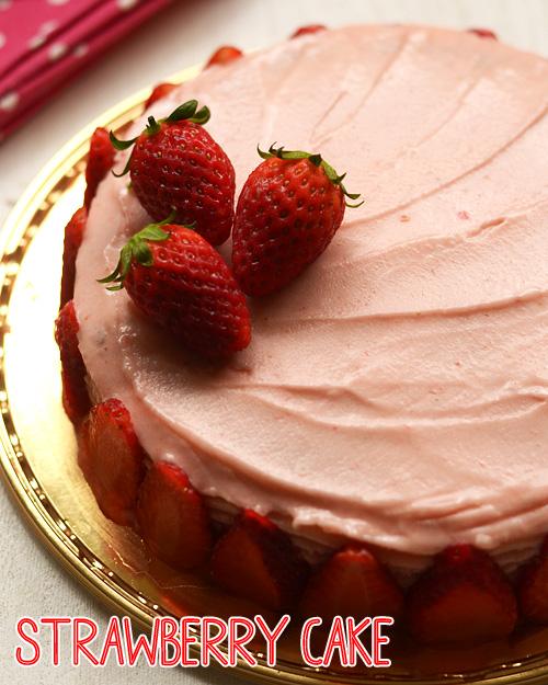کیک بدون تخم-توت فرنگی-کیک