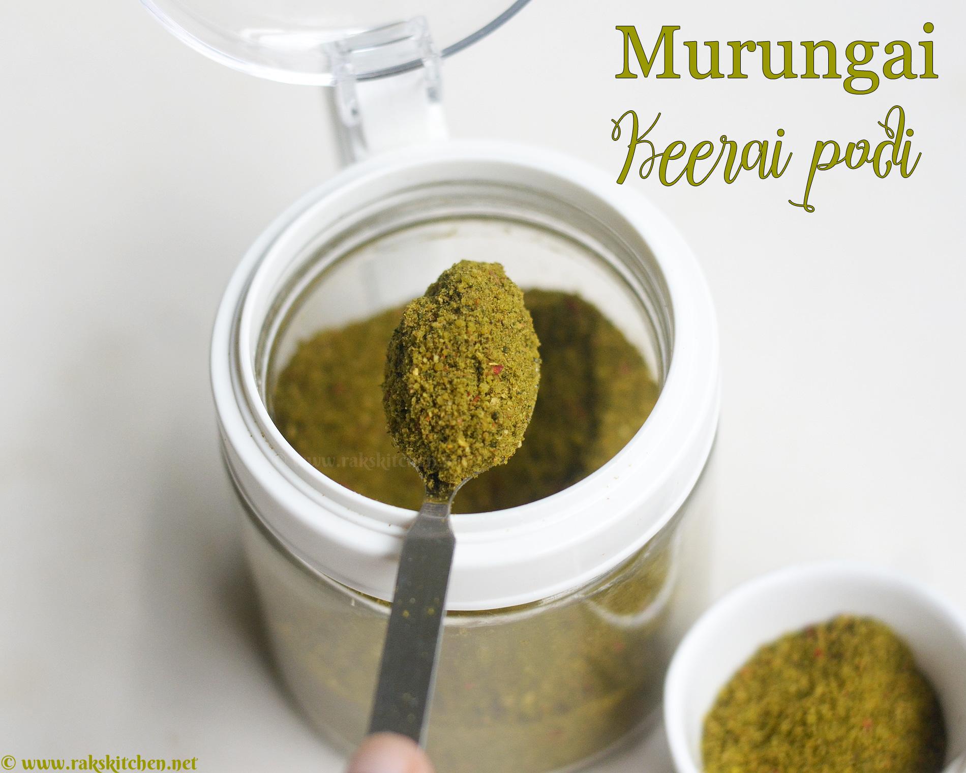 Murungai keerai podi, sobrecoxa em pó para arroz 1