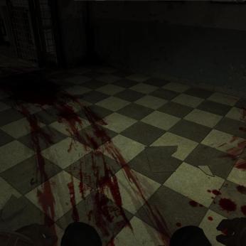 Vércsíkos folyosón egy tolószékbe szíjazva visznek éppen a sötétbe. Vidám.