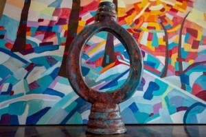 "Egg shaped ceramic vase ""The Brahmanda"""