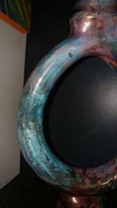 Raku vase - blue, copper