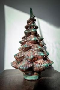 Raku Pottery Christmas Tree - Turquoise & Metallic
