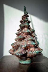 Raku Pottery Christmas Tree - Turquoise & Metallic